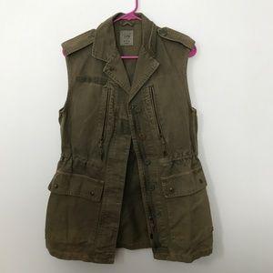 Zara Trafaluc Army Green Cargo Vest NWOT